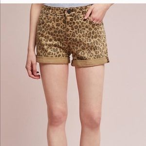 Anthropology Hyphen Leopard Jean shorts, size 25